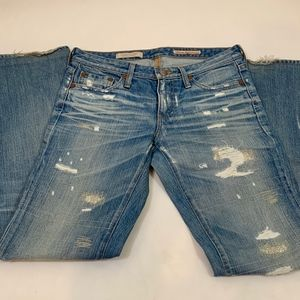AG Size 27 Straight Leg Distressed Jeans